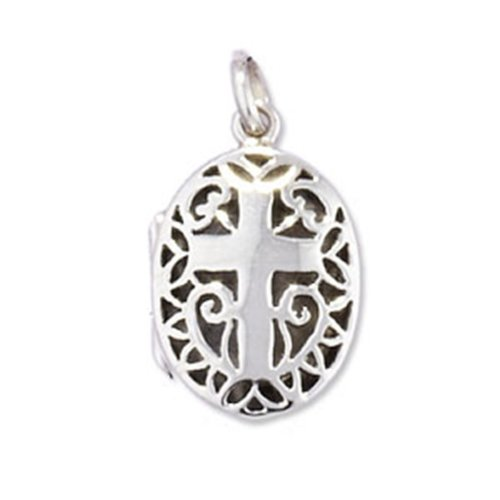 Childrens Sterling Silver Cross Oval Locket On A Curb Necklace