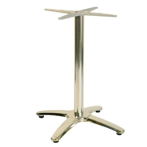Venerian Quad Chrome Bar Fixed Floor Commercial Table Base - Grey