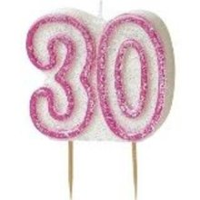 Age 30 Birthday Candle Pink Glitz