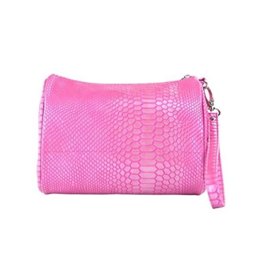 Picnic Gift 7766-PK Shirley Temple-Touch Up Insulated Cosmetics Bags with Removable Wristlet, Pink Reptilian - Large
