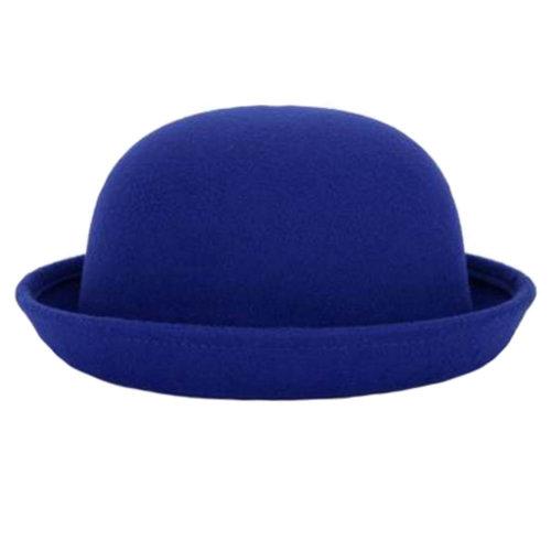 Ladies Elegant Hat Winter Cap Bowler Hat Fedora Hats, Blue