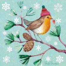 4 x Paper Christmas Napkins - Winter Bird  - Ideal for Decoupage / Napkin Art