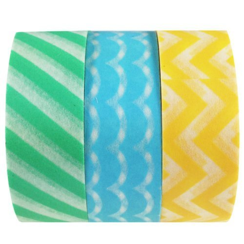 Wrapables Pastel Lines Washi Tape Masking Tape Set of 3