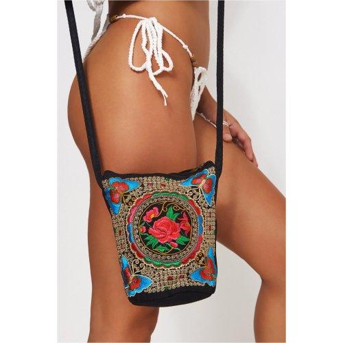 Boho Red Embroidered Bucket Bag