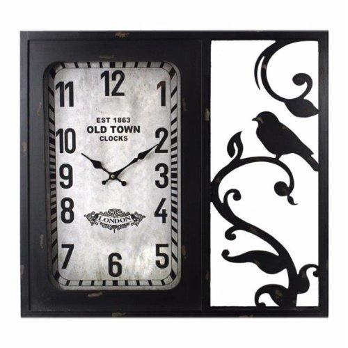 Benzara BM165131 Birdie Wooden Glass Clock - Black