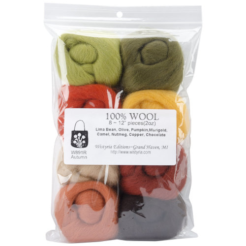 "Wistyria Editions Wool Roving 12"" .25oz 8/Pkg-Autumn"