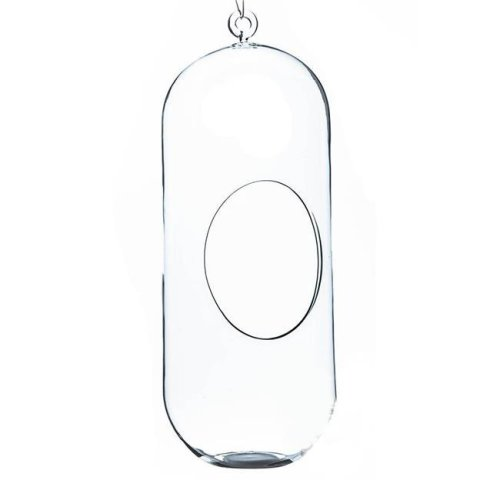 Athenas Garden HCH0512 12 x 4 in. Clear Cylindrical Hanging Glass Terrarium & Candle Holder