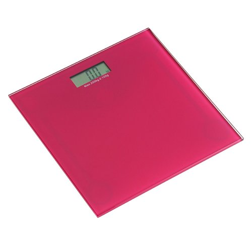 Square Tempered Glass Bathroom Scale - Pink