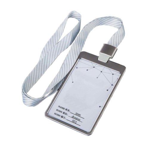Aluminum Alloy Vertical Style ID Card Badge Holder with Neck Lanyard Strap 3PCS, 21