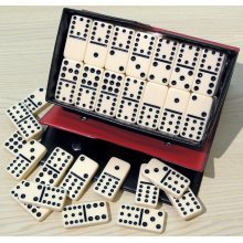 Double twelve dominoes with black spots 00123