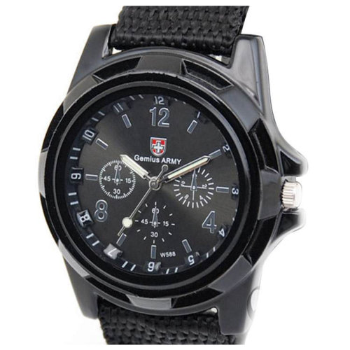 MEN or Boys Children Kids Sport SWISS Flag Smart Looking Watch Army Time Black Material Strap