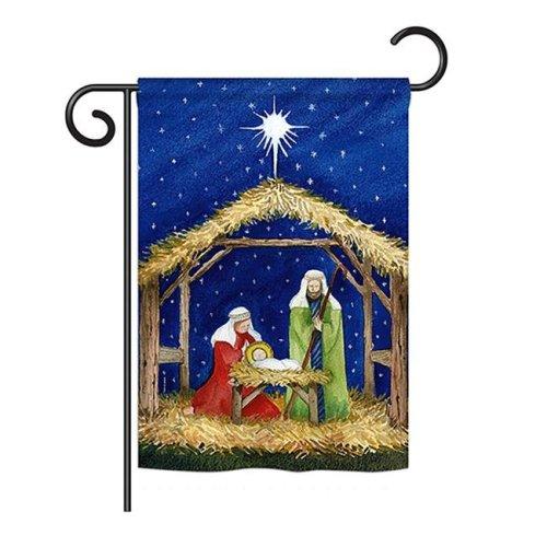 Breeze Decor BD-NT-G-114214-IP-BO-DS02-US 13 x 18.5 in. Seasonal Nativity Impressions Decorative Vertical Garden Flag - Nativity of Jesus Winter
