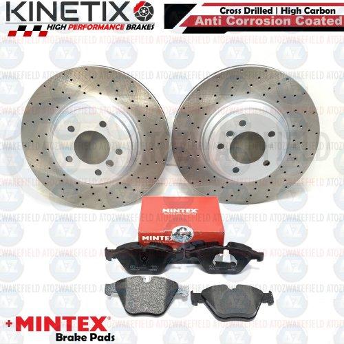 FOR BMW 335i E90 FRONT DRILLED KINETIX PERFORMANCE BRAKE DISCS MINTEX PADS 348mm