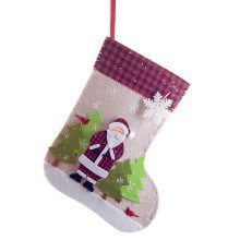 Felt 50cm Stocking with Coloured Snowy Father Christmas Scene