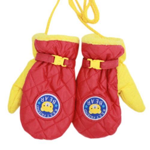 1 Pair Kids' Winter Gloves Warm Mittens Windproof Glove(2-6 Years) Red/Yellow