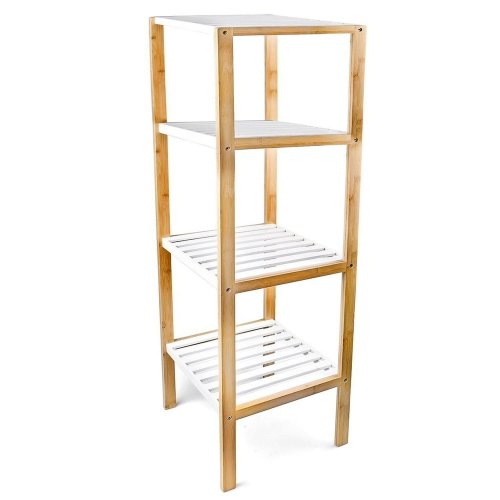 4 Tier Top Home Solutions Wooden Freestanding Bamboo Storage Unit Display Shelf Shelves