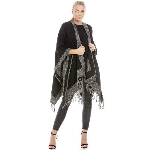 Central Chic Central Chic Reversible Womens Blanket Wrap Shawl Cape