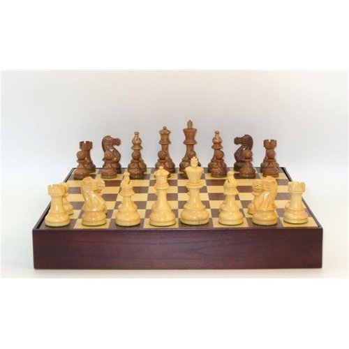 WW Chess 37KC-WCT 16.25 in. Kikkerwood & Boxwood Classic Double Weighted Chessmen, Walnut & Maple