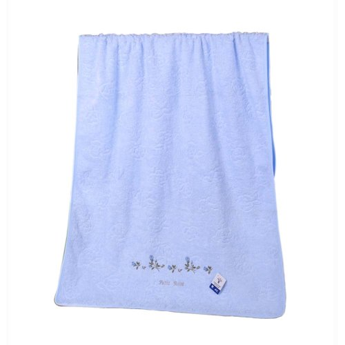 "Cotton Bath Towel Embroidery 51"" x 25.6"" Large Bath Sheet Absorbent, Blue"