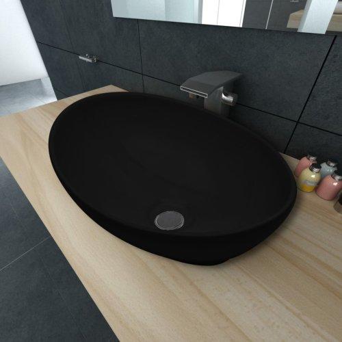 vidaXL Ceramic Basin Oval Black 40x33x13.5cm Bathroom Sink Countertop Fixture