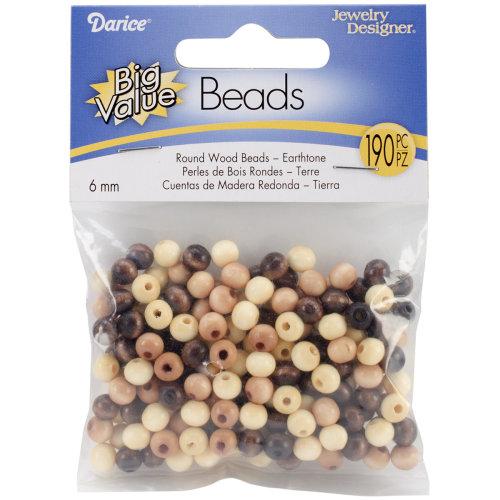 Round Wood Beads 6mm 190/Pkg-Earth Tones