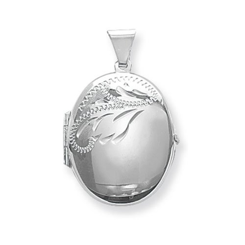 Childrens Sterling Silver Small Half Engraved Oval Locket On A Curb Necklace