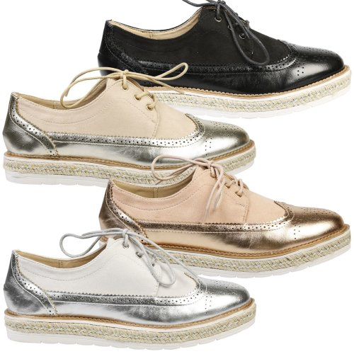 Regina Womens Flat Platform Lace Up Two Tone Brogues