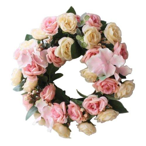[Pink-2] Artificial Wreath Hanging Garland Door Wreath Wedding Decor