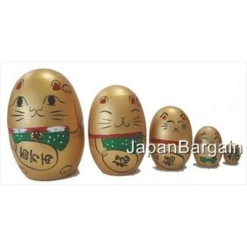 JapanBargain Educational Products Maneki Neko Matryoshka Nesting Doll, Gold