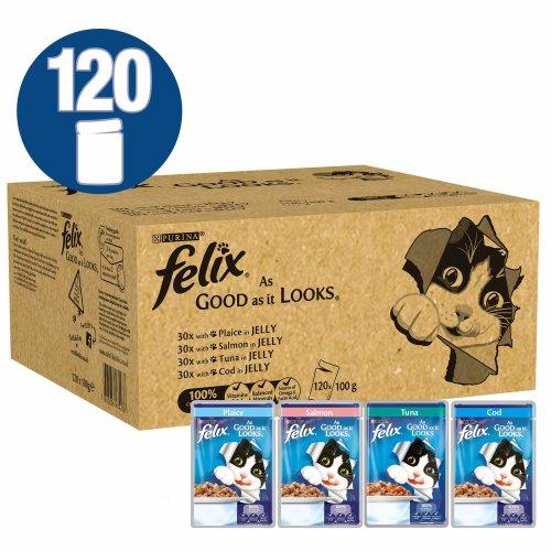 Felix As Good As It Looks Ocean Feasts Cat Food, 120 x 100 g