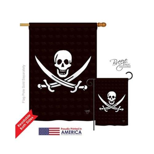 Breeze Decor 07031 Pirate Calico Jack Rackham 2-Sided Vertical Impression House Flag - 28 x 40 in.