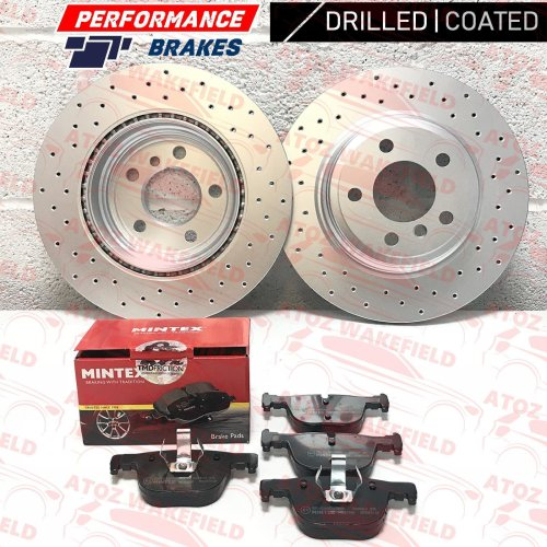 FOR BMW 3 SERIES 320d M SPORT REAR PERFORMANCE DRILLED BRAKE DISCS MINTEX PADS