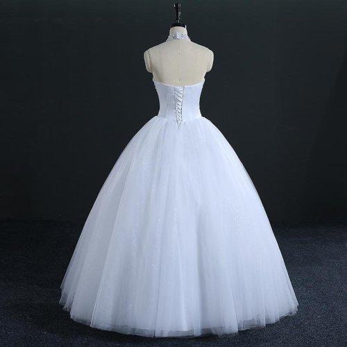 Quality Luxury Crystal Rhinestone Ball Wedding Dresses 2017 Vestido de Novia Customized Plus Size Bridal Gowns FSM-005F