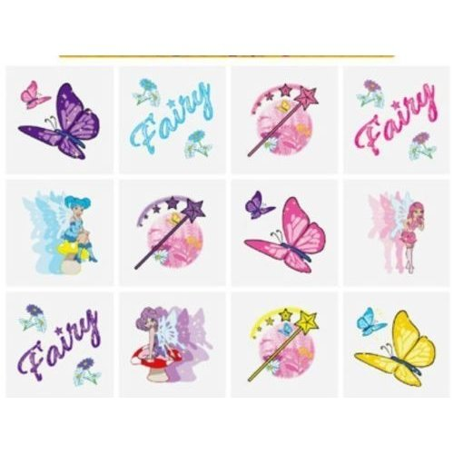 12 FAIRY TEMPORARY TATTOOS PARTY BAG FILLER/ PRIZES KIDS FAVOURS FUN