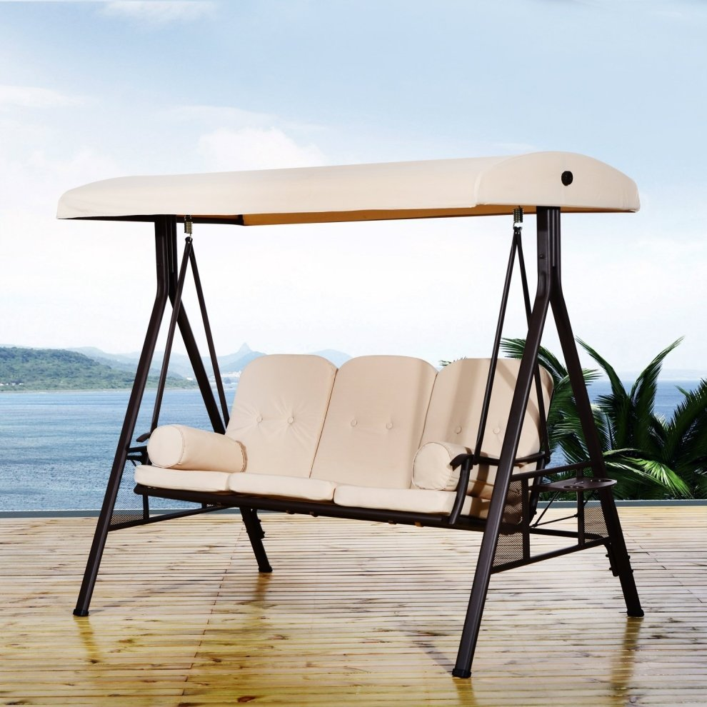 Outsunny 3 Seater Patio Metal Swing Chair | Garden Swing Seat ... Part 55