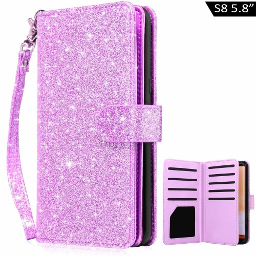 Dailylux Galaxy S8 Case,S8 Wallet Case, Premium Soft PU Leather Magnetic Closure Flip Wallet Case with 9 Card Slots,Bling Cover for Samsung Galaxy...