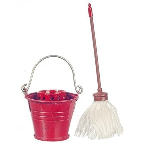 Dollhouse Miniature 1 12 Scale Floor MOP with RED TIN Bucket G7147