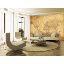 1 Wall Vintage Old Map Wall Mural, Wood, Beige, 3.15 x 2.32 m