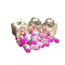 6 Boxes of Mini Love Hearts Filled Holographic Hearts Gold Cube Balloon Weight Favour Boxes