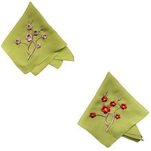 Two Pieces Of Elegant  Retro Plum Flower Embroidered Handkerchiefs-Green