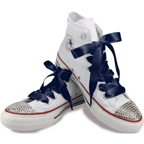 Navy Blue Satin Ribbon Shoelaces For Trainers