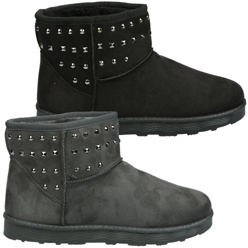 Tonya Womens Flat Fur Lined Studded Ankle Boots