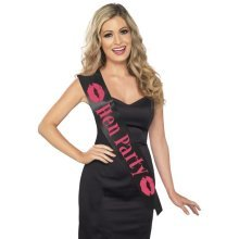 Black Hen Party Sash With Pink Lettering. - Night Ladies Hot Smiffys Fancy -  hen party sash black pink night ladies hot smiffys fancy dress