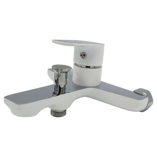 White/Chrome Bathroom Bath Elegant Wall Mounted Mixer Single Lever Tap