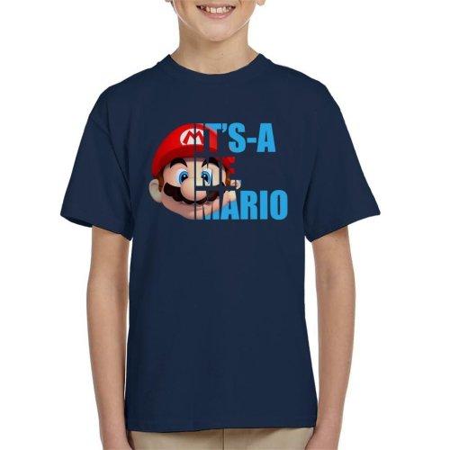 Super Mario Half Head Text Kid's T-Shirt