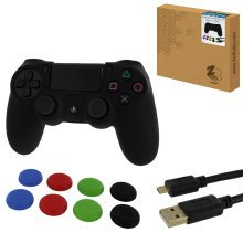 ZedLabz protect & play kit for PS4 inc silicone cover, thumb grips & 3m charging cable - black