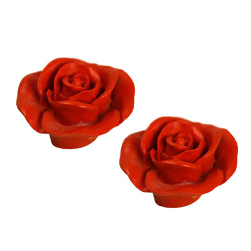 Set Of 2 Stylish Cabinet S Drawer Handle Beautiful Pull Handles Flower Red C On