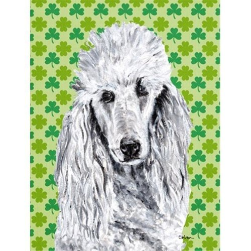 White Standard Poodle Lucky Shamrock St. Patricks Day Flag Garden Size