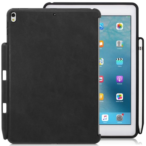iPad Pro 10.5 Inch Black PU Leather Case With Pen Holder - Companion Cover - Perfect match for Apple Smart keyboard and Cover