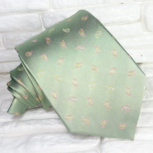 Neck tie olive green Made in Italy Jacquard Top quality